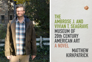 A photo of Matthew Kirkpatrick next to the cover of his book.