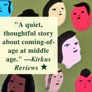 "A quote from the Kirkus Review of Big Familia by Tomas Moniz, set against the book cover, which includes many different colored illustrated faces. ""A quiet, thoughtful story about coming-of-age at middle age."" --Kirkus Reviews. Image of star to denote starred review."